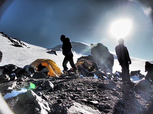 Mount Elbrus North Route - Lenz Rocks campsite at 4600m.