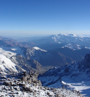 View from summit of Mount Aconcagua