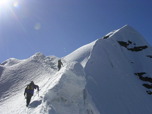 Bolivia_Andes Pequeno Alpamayo summit ridge close.jpg