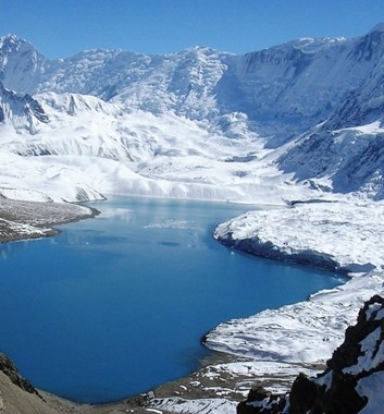 Annapurna Circuit trek - Tilicho Lake view back from pass