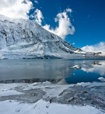 Annapurna Circuit - Partially frozen Tilicho Lake