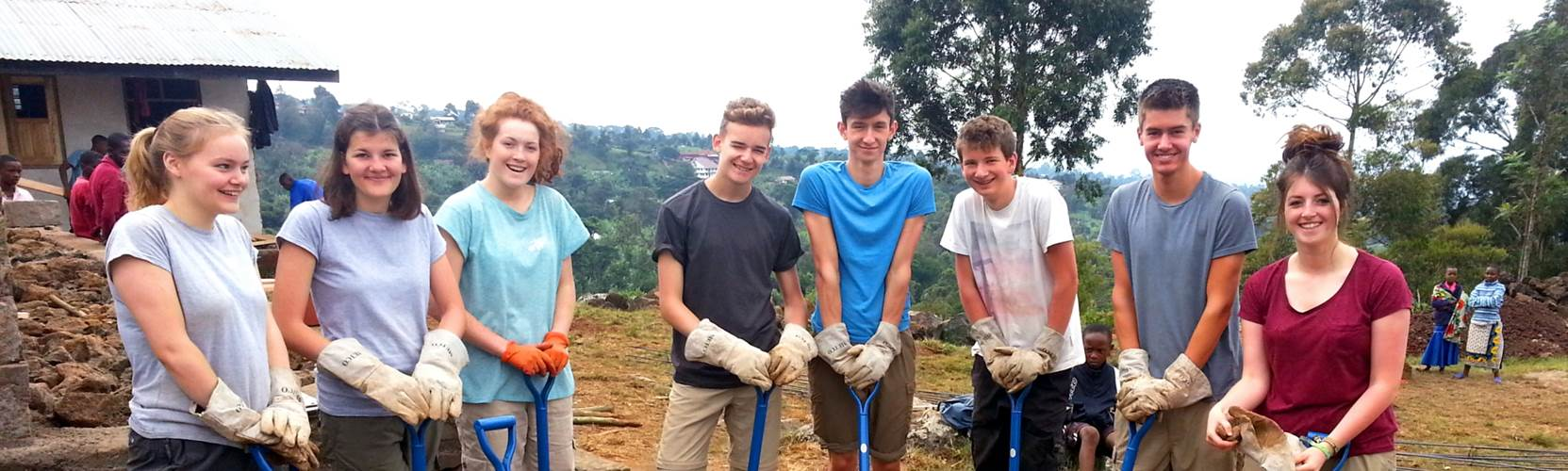 Tanzania School Expedition building work mixing mortar