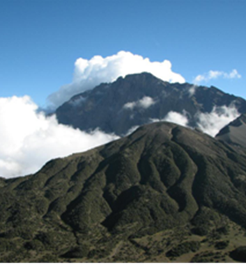 Mount Meru clouds floating over the summit