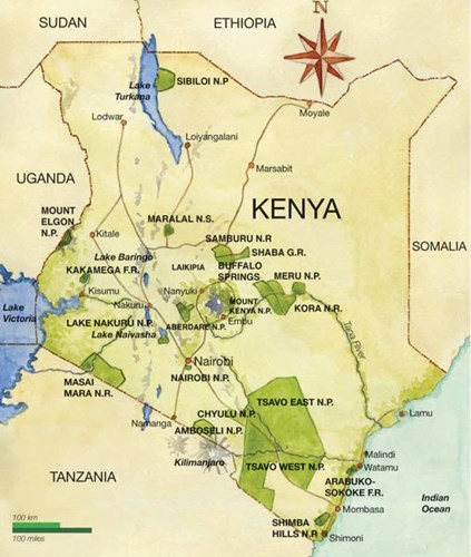 Safari Map of Kenya