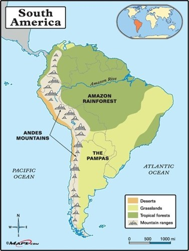 StepMap - South America - Landkarte für South America