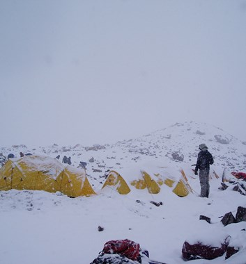 Snow on Aconcagua, camping at high altitude