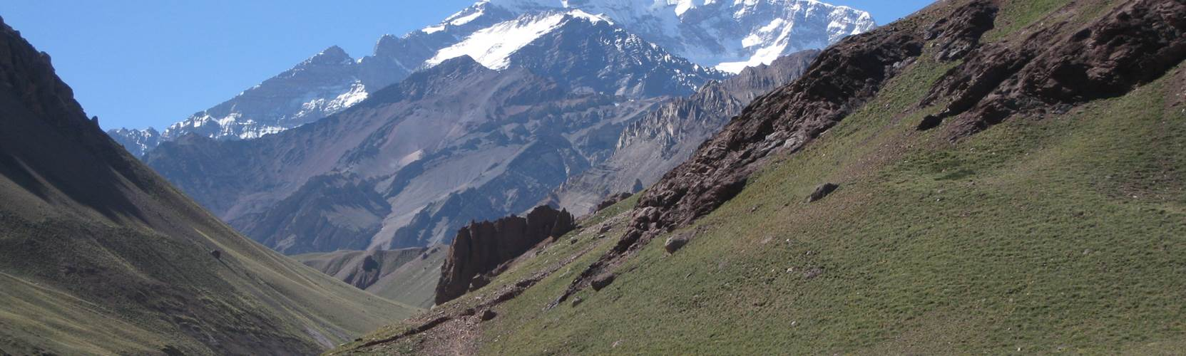 View of Aconcagua up the Horcones valley