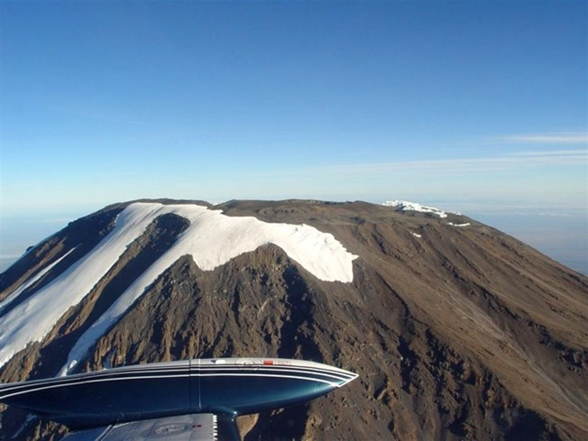 summit of kilimanjaro from plane