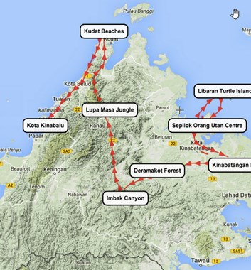 Borneo Wildlife Tour map