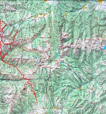 Summits and Ridges of Bugaria - Rila Map