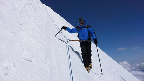 Climber on Mount Elbrus
