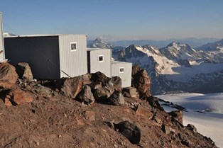 Hut on Elbrus at 4100 metres named Muzafar Hut.jpg