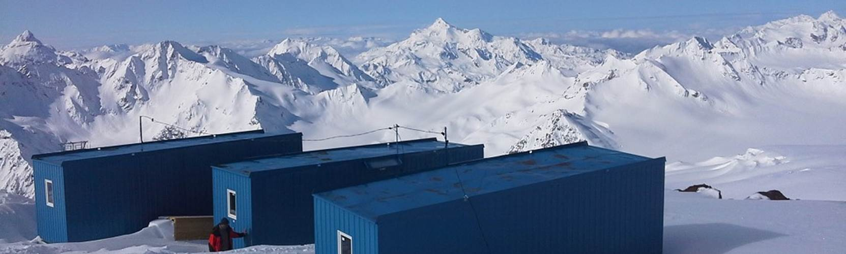 Huts on Mount Elbrus at 3900 metres
