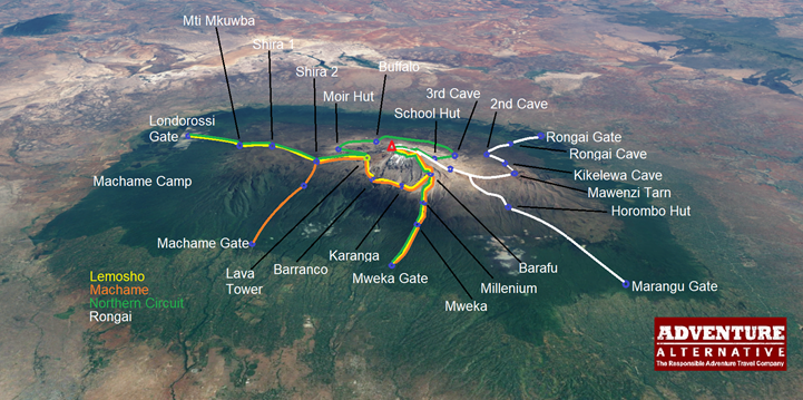Kilimanjaro route options