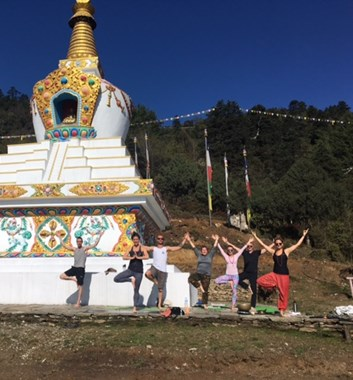 Yoga beside a Himalayan Stupa