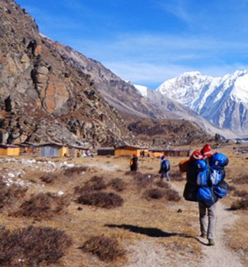 Trekking on the Kanchenjunga trail to north base camp